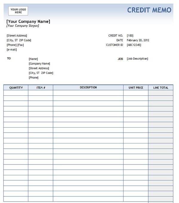 Credit Memo Form Template