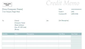 Credit Memo Sample Form