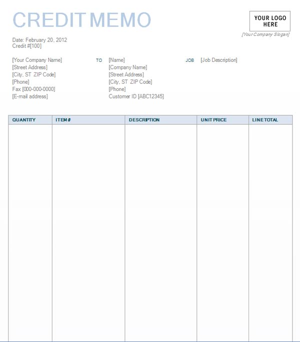 Credit Memo With Blue Background Design