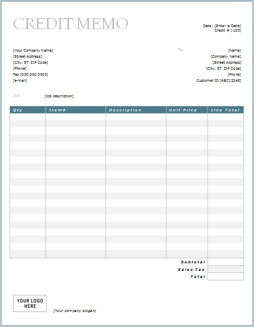 Credit Memo With Blue Border Design