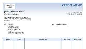Credit Memo With Blue Gradient Design