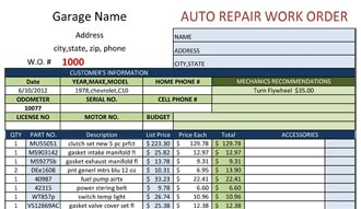 Auto Repair Work Order Template