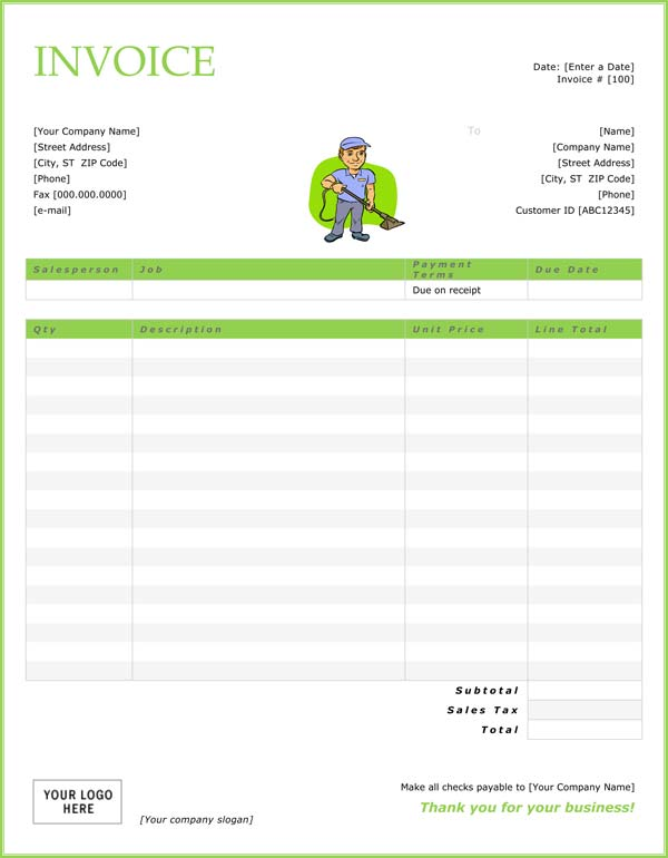 House Cleaning Free Sample Cleaning Invoices
