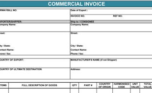 commercial invoice form commercial invoice template