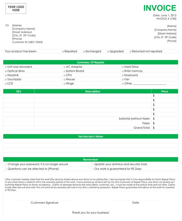 Computer Repair Invoice Template - Format for invoice for services for service business