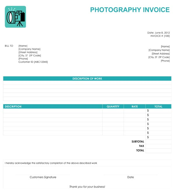Photography Invoice Example  CityEsporaCo