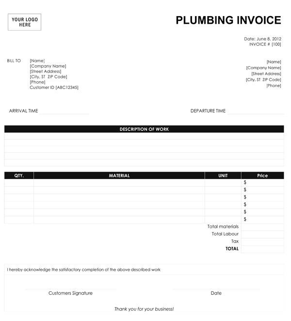 Plumbing Invoice Template - Create invoice for free for service business