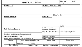 proforma commercial invoice template .