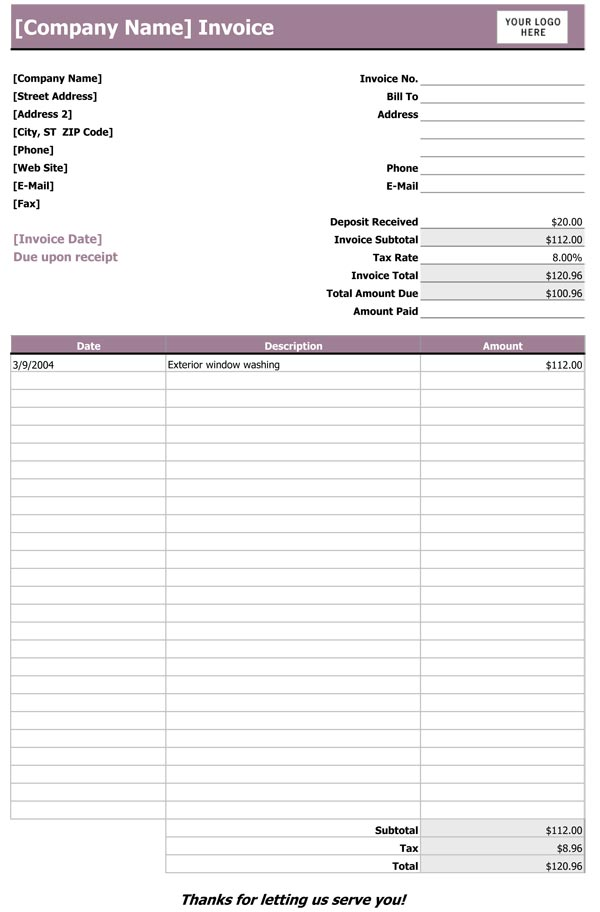 Sample Service Invoice - Construction invoice form free for service business