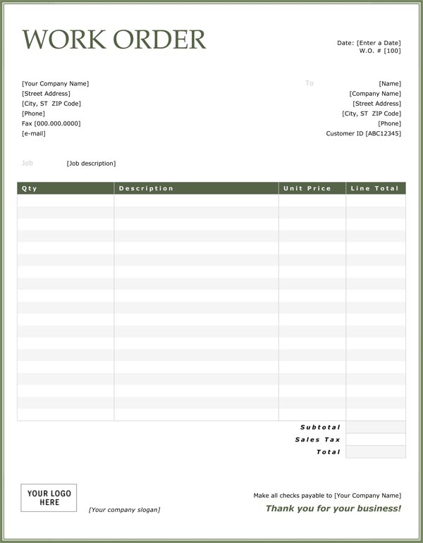 Work Order Sample - Work order invoice template